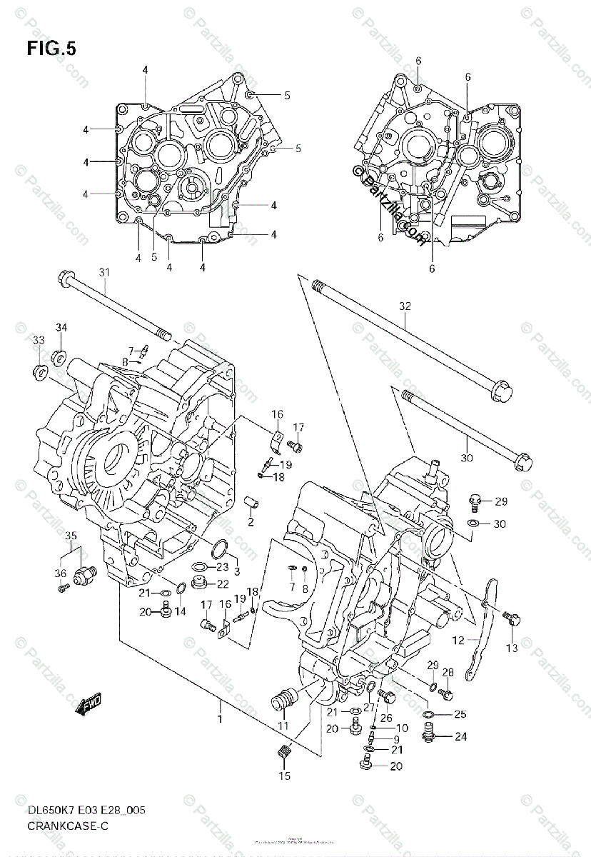 Suzuki Motorcycle 2008 OEM Parts Diagram for CRANKCASE