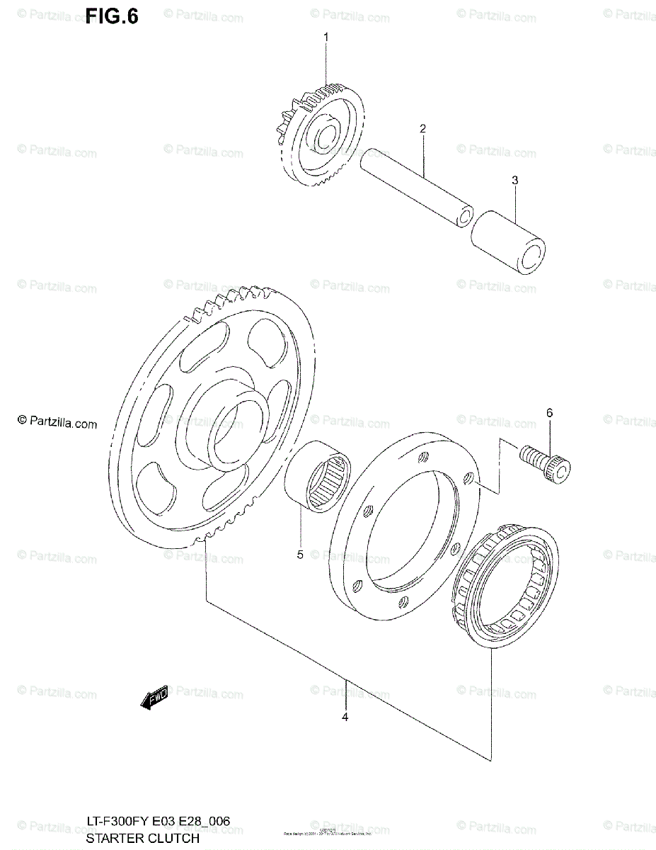 Suzuki ATV 2001 OEM Parts Diagram for Starter Clutch