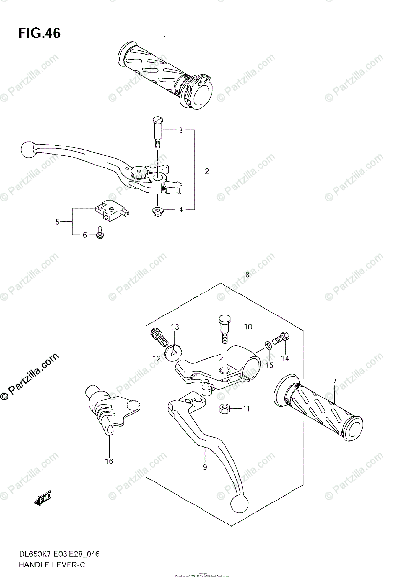 Suzuki Motorcycle 2008 OEM Parts Diagram for HANDLE LEVER