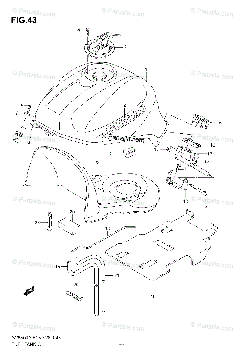 Suzuki Motorcycle 2005 OEM Parts Diagram for FUEL TANK