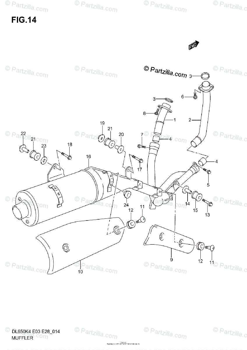 Suzuki Motorcycle 2006 OEM Parts Diagram for Muffler