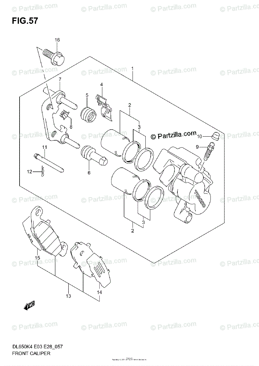 Suzuki Motorcycle 2006 OEM Parts Diagram for FRONT CALIPER