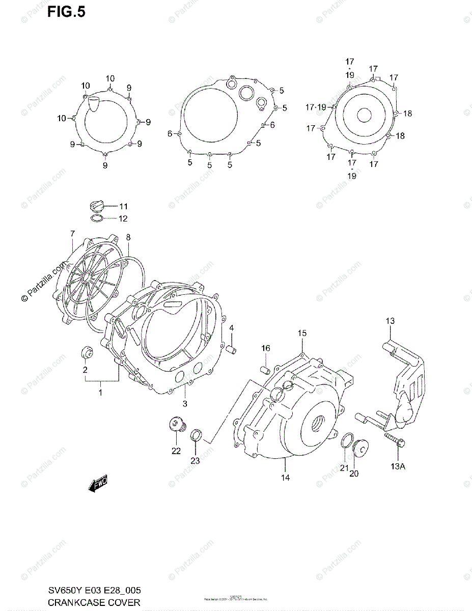 Suzuki Motorcycle 2000 OEM Parts Diagram for Crankcase