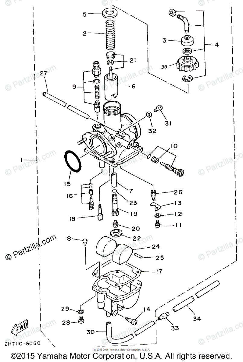 Yamaha ATV 1988 OEM Parts Diagram for Carburetor