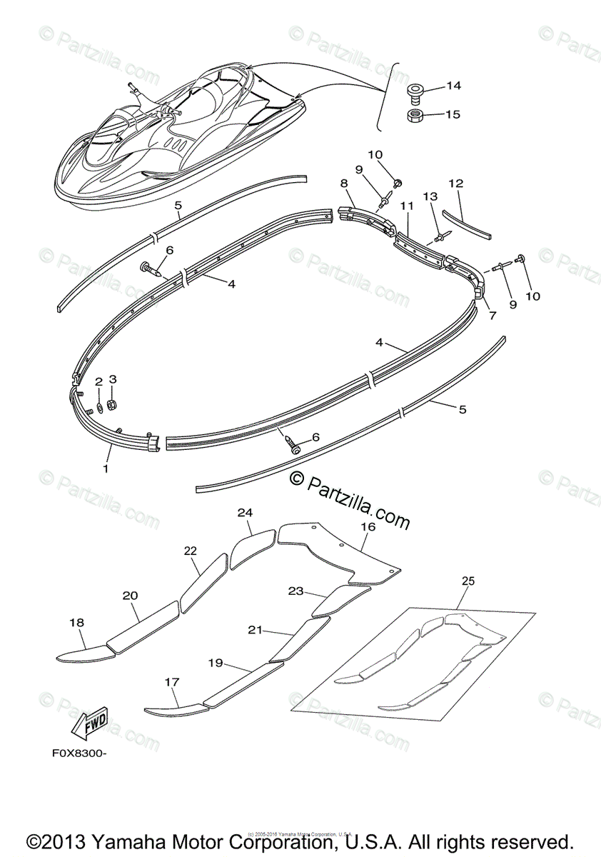 Yamaha Waverunner 2003 OEM Parts Diagram for Gunwale Mat