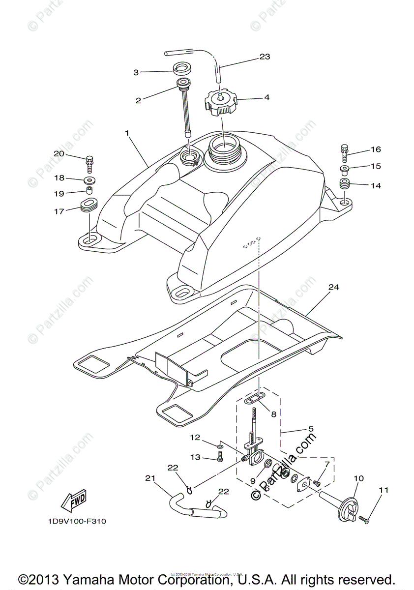Yamaha ATV 2008 OEM Parts Diagram for Fuel Tank