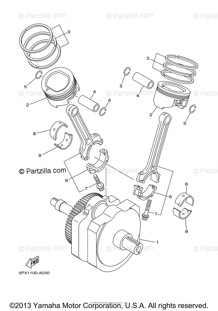 Yamaha Motorcycle 2005 OEM Parts Diagram for Crankshaft