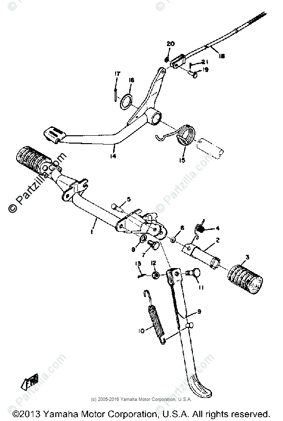 Yamaha Motorcycle 1973 OEM Parts Diagram for STAND