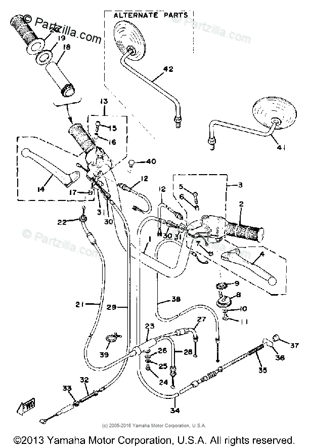 Yamaha Motorcycle 1976 OEM Parts Diagram for HANDLE-WIRE