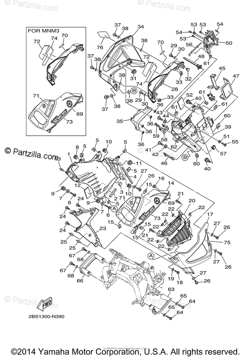 Yamaha Motorcycle 2014 OEM Parts Diagram for Cowling