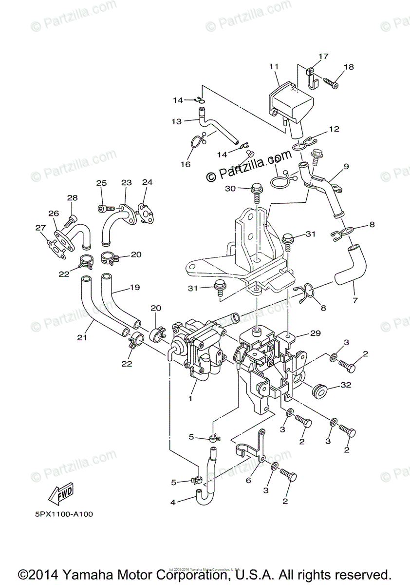 Yamaha Motorcycle 2004 OEM Parts Diagram for Air Induction