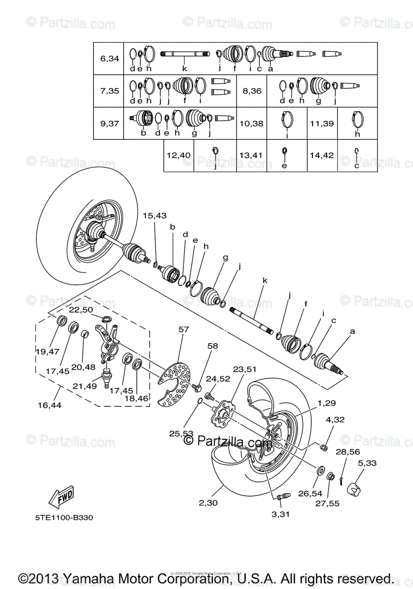 Yamaha ATV 2003 OEM Parts Diagram for Front Wheel