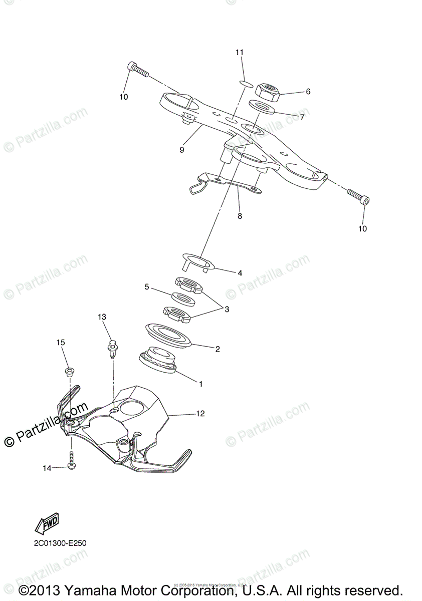 Yamaha Motorcycle 2006 OEM Parts Diagram for Steering