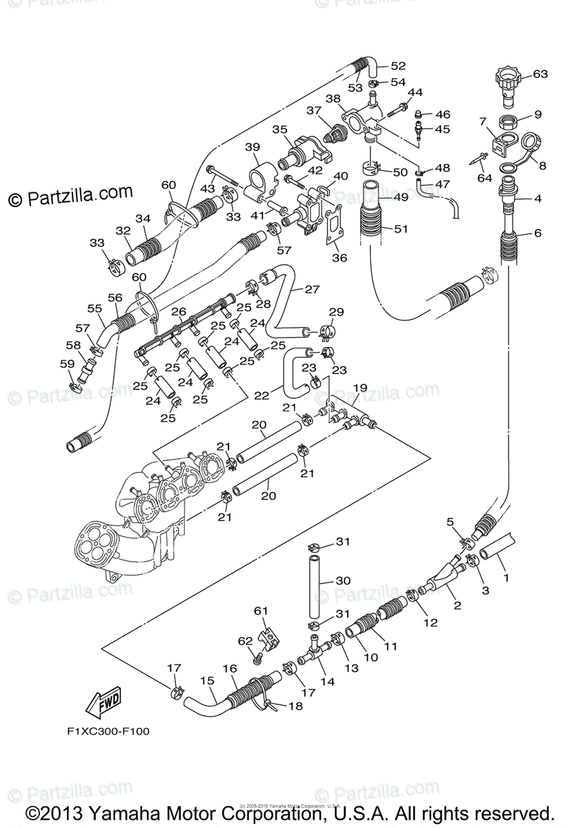Yamaha Waverunner 2008 OEM Parts Diagram for EXHAUST 4 CA