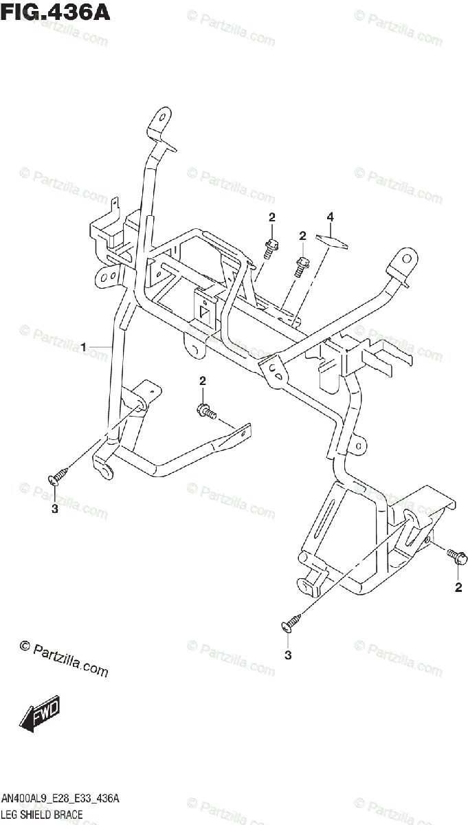 Suzuki Scooters 2019 OEM Parts Diagram for Leg Shield
