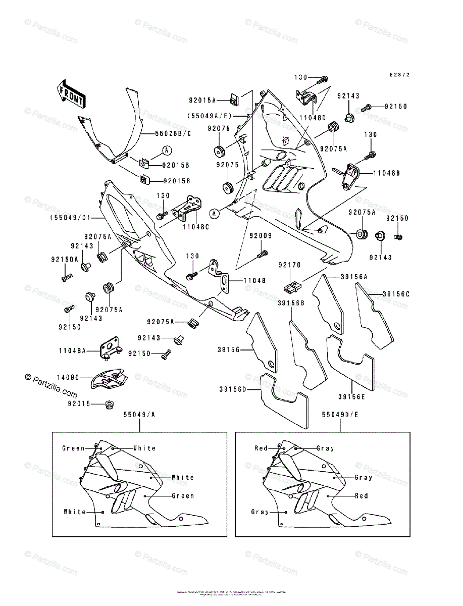 Kawasaki Motorcycle 1994 OEM Parts Diagram for Cowling