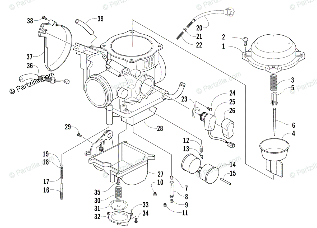 Arctic Cat ATV 2008 OEM Parts Diagram for Carburetor