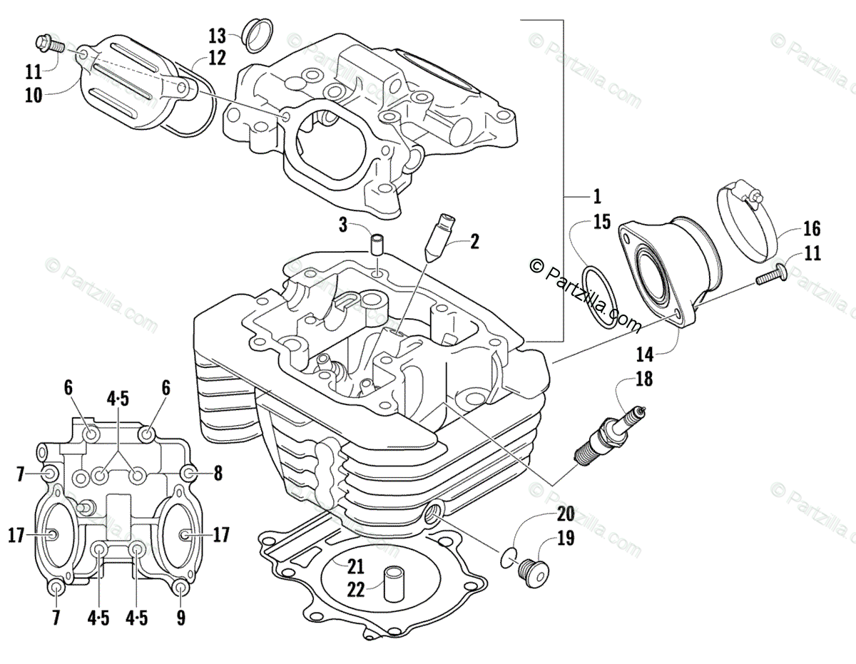 Arctic Cat ATV 2008 OEM Parts Diagram for Cylinder Head