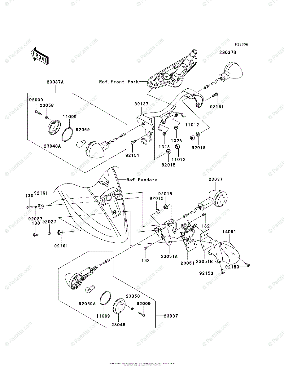 Kawasaki Motorcycle 2009 OEM Parts Diagram for TURN
