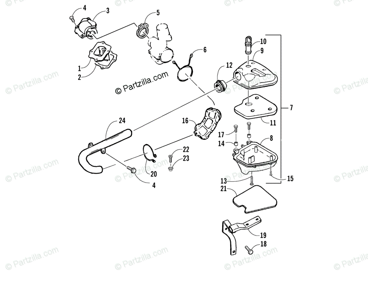 Arctic Cat ATV 2004 OEM Parts Diagram for Reed Valve And