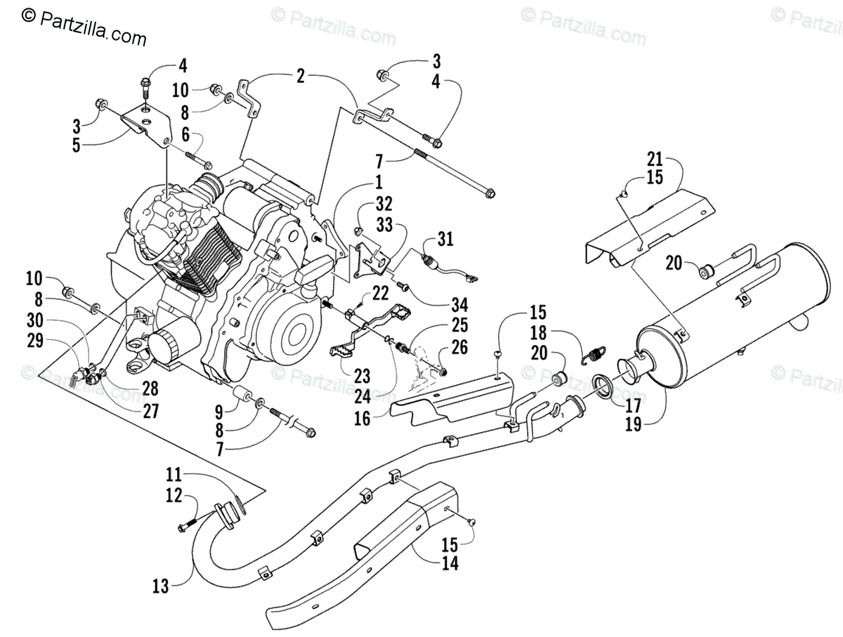 Arctic Cat ATV 2005 OEM Parts Diagram for Engine And