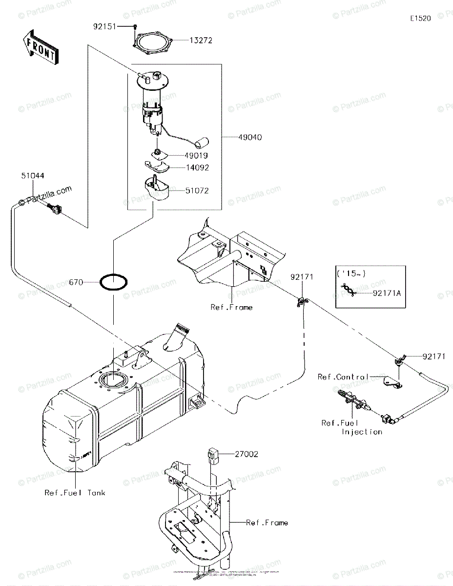 Kawasaki Side by Side 2015 OEM Parts Diagram for Fuel Pump