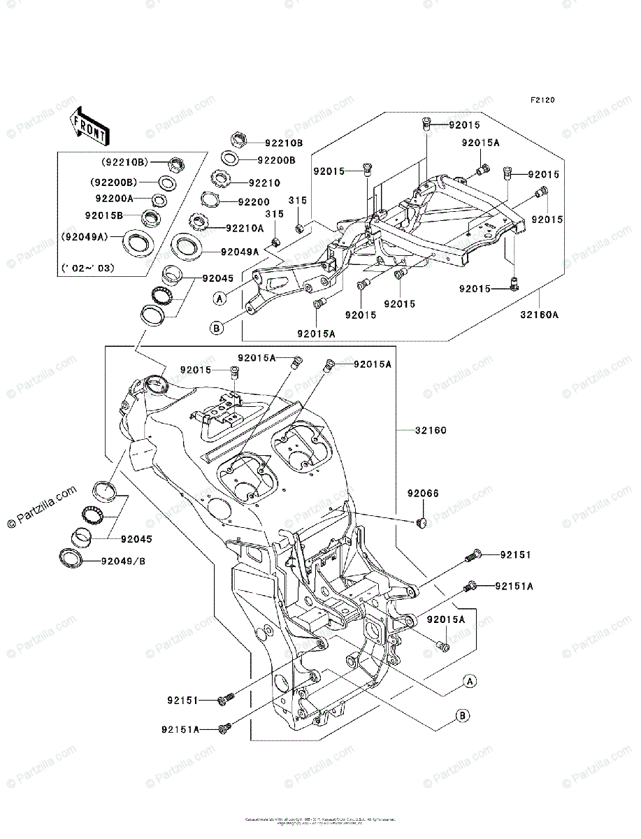 Kawasaki Motorcycle 2005 OEM Parts Diagram for Frame