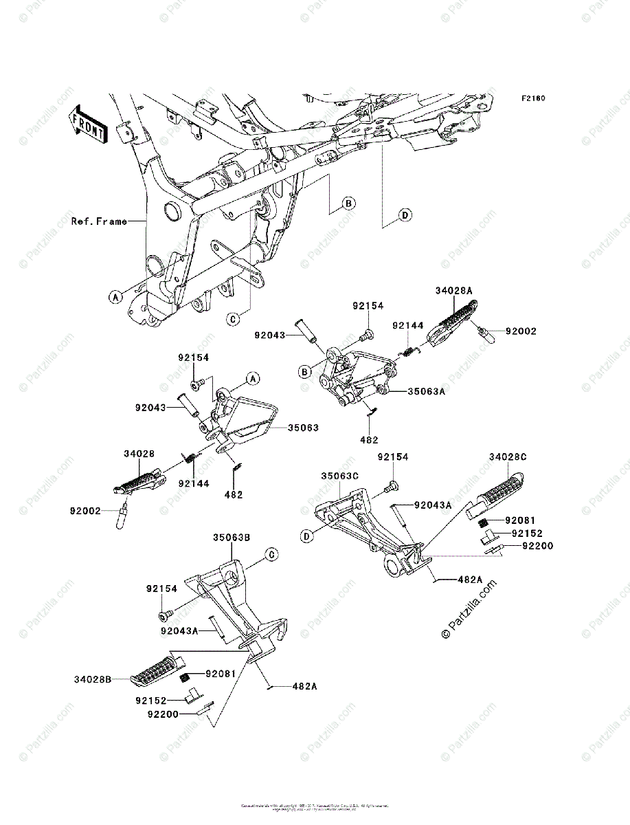 Kawasaki Motorcycle 2014 OEM Parts Diagram for Footrests