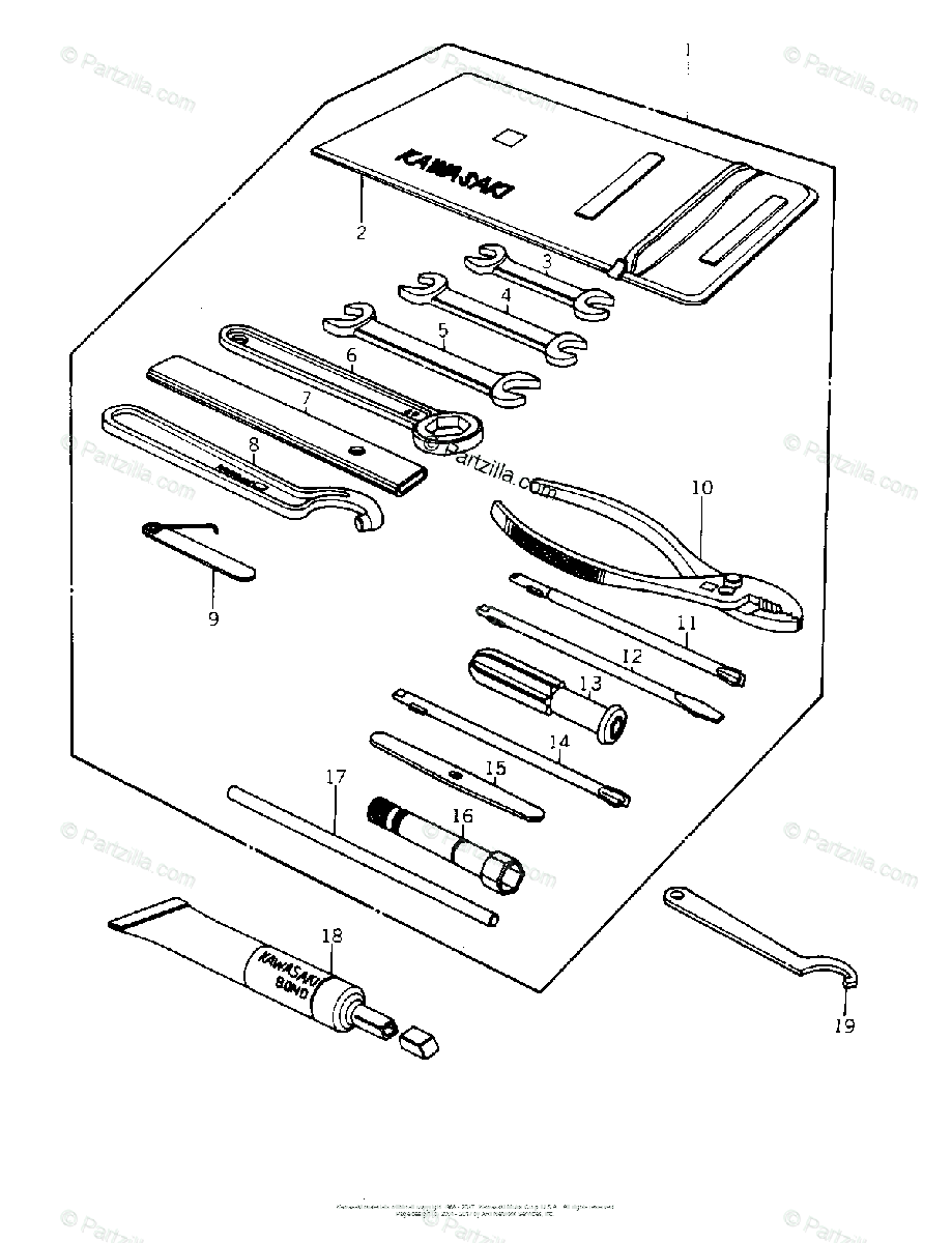 Kawasaki Motorcycle 1978 OEM Parts Diagram for OWNER TOOLS