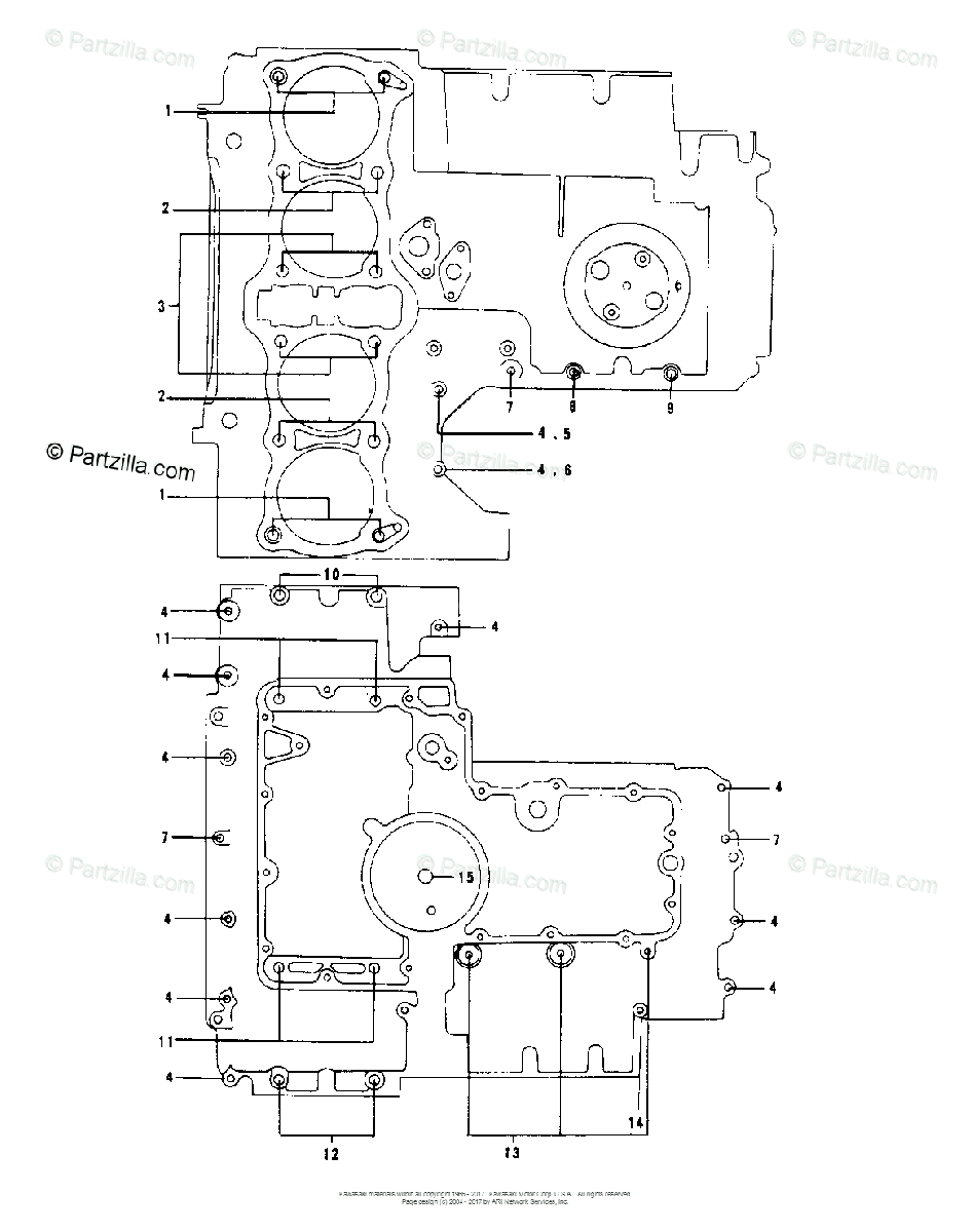Kawasaki Motorcycle 1978 OEM Parts Diagram for CRANKCASE