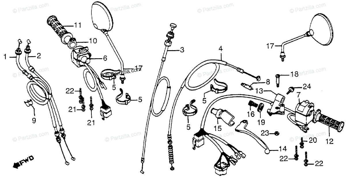 Honda Motorcycle 1981 OEM Parts Diagram for Handle Lever