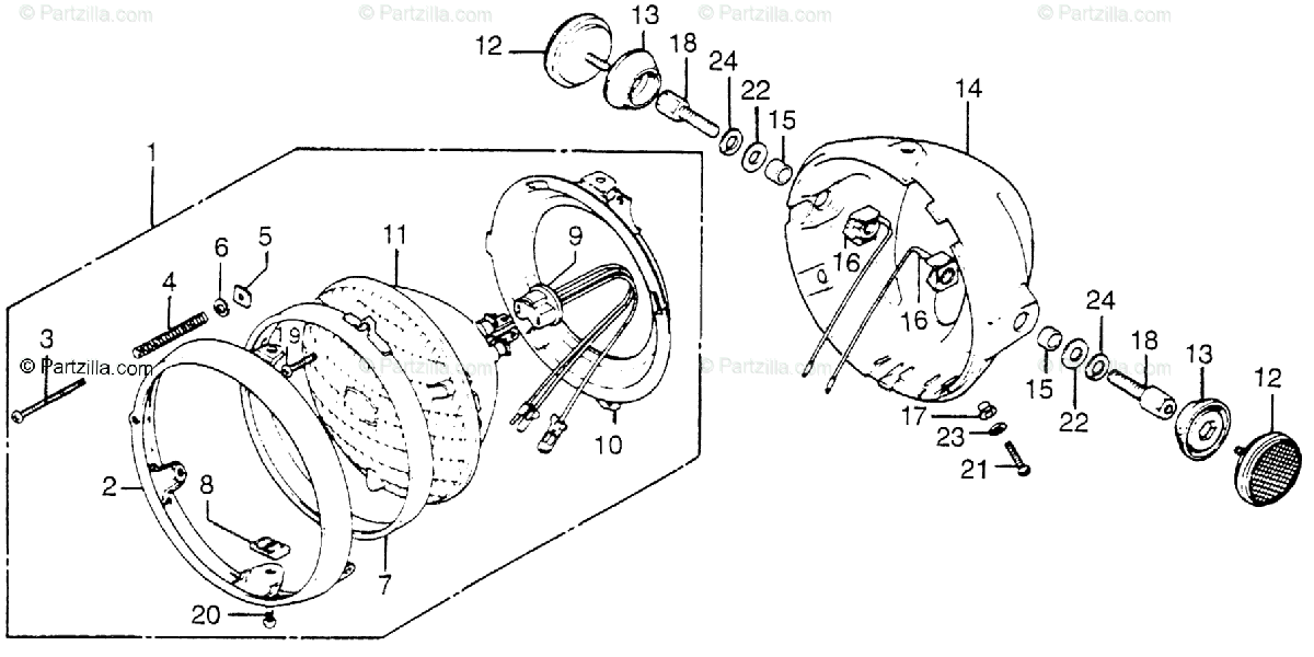 Honda Motorcycle 1977 OEM Parts Diagram for Headlight