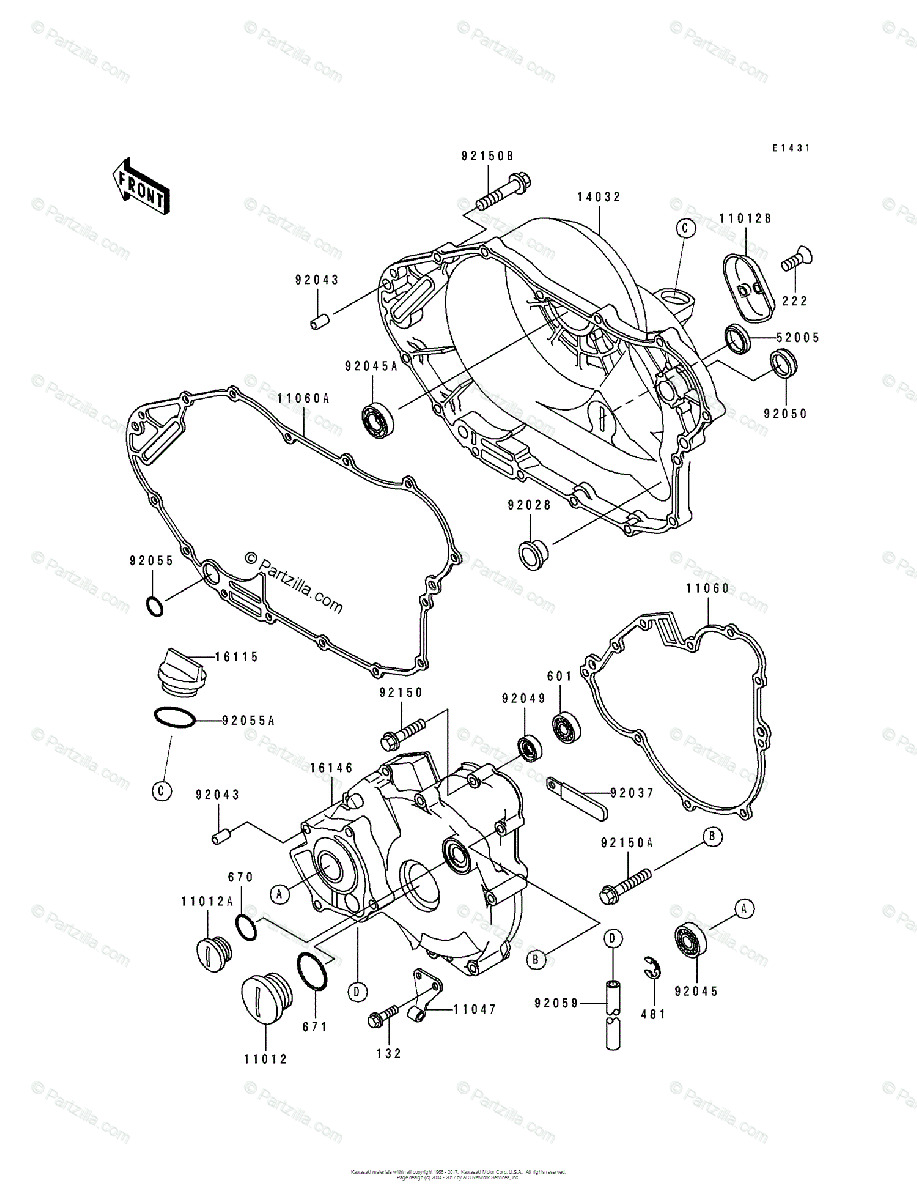 Kawasaki ATV 1993 OEM Parts Diagram for Engine Cover(s