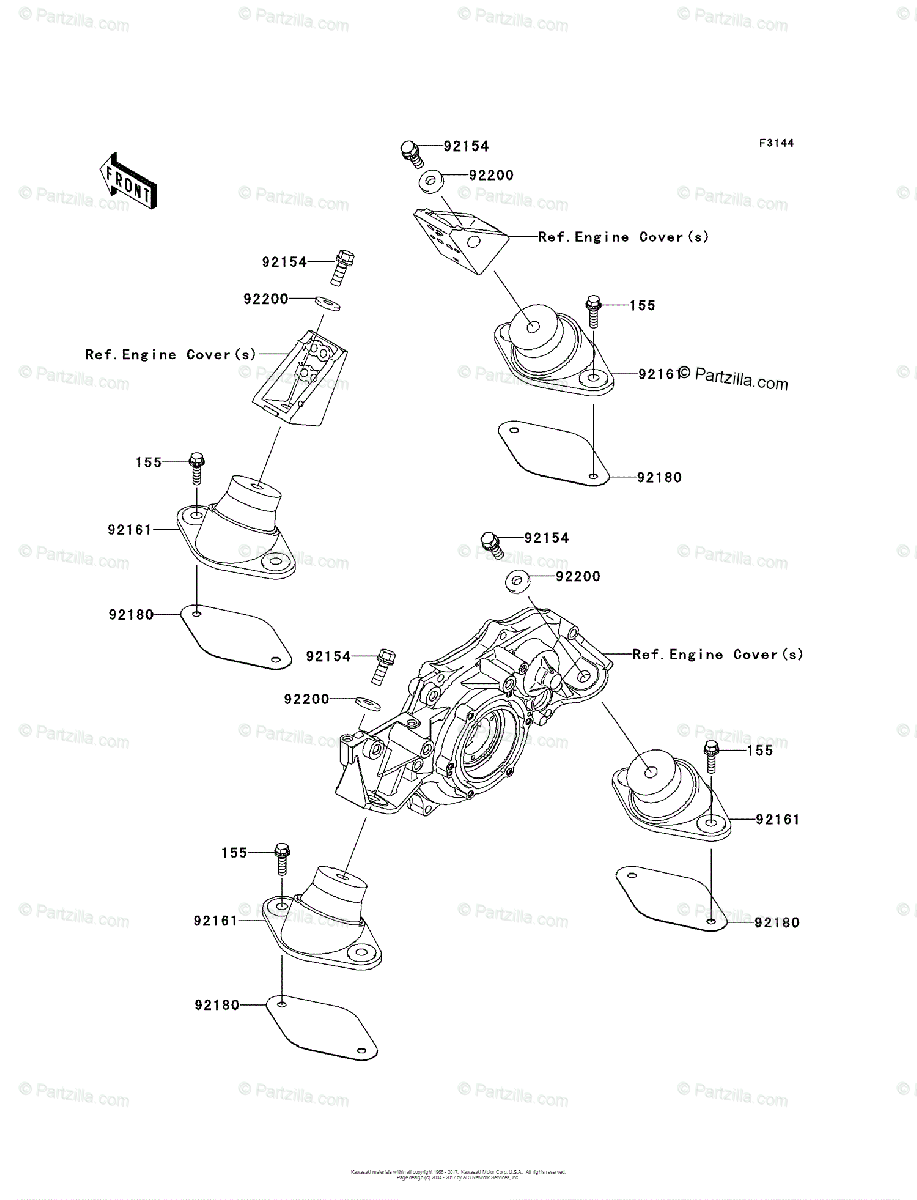 Kawasaki Jet Ski 2011 OEM Parts Diagram for Engine Mount