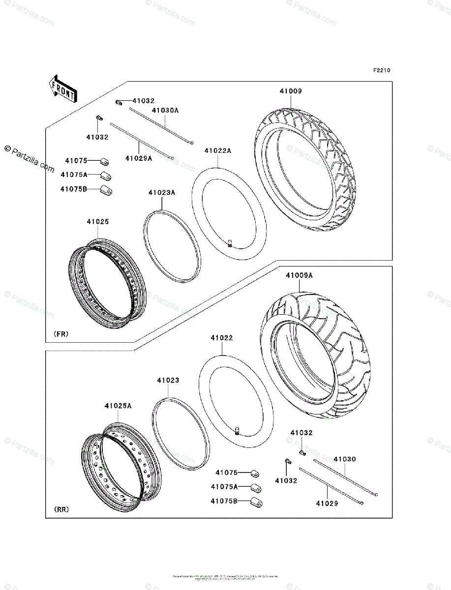 Kawasaki Motorcycle 2006 OEM Parts Diagram for Tires