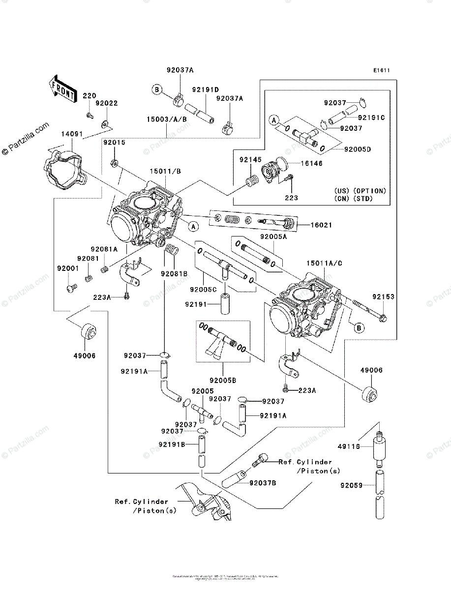 Kawasaki ATV 2004 OEM Parts Diagram for Carburetor