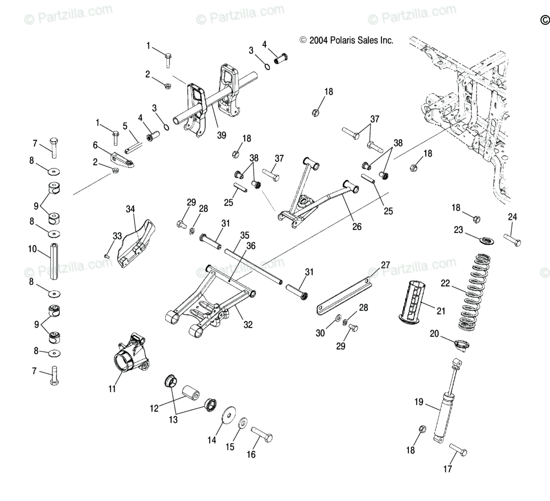 Polaris ATV 2005 OEM Parts Diagram for Suspension, Rear