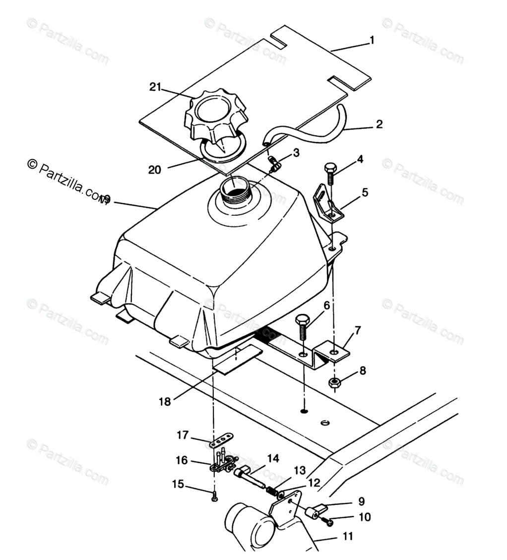 Polaris ATV 1995 OEM Parts Diagram for Fuel Tank Assembly