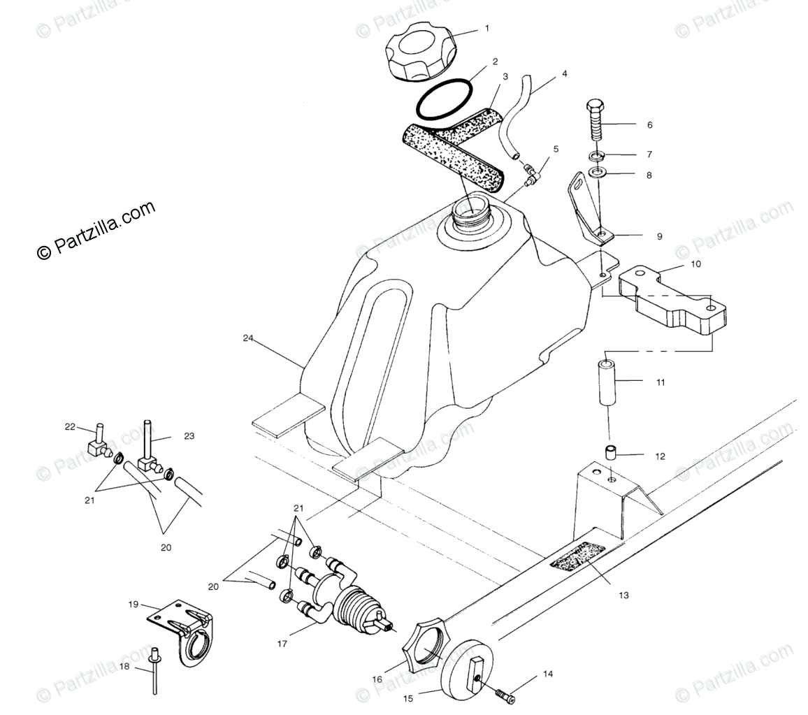 Polaris ATV 2001 OEM Parts Diagram for Fuel Tank