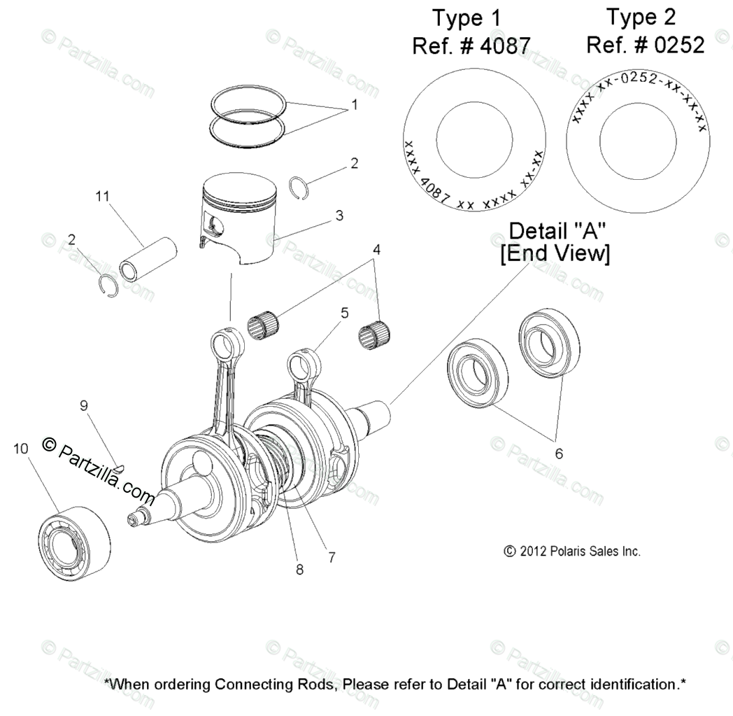 Polaris Snowmobile 2013 OEM Parts Diagram for Engine