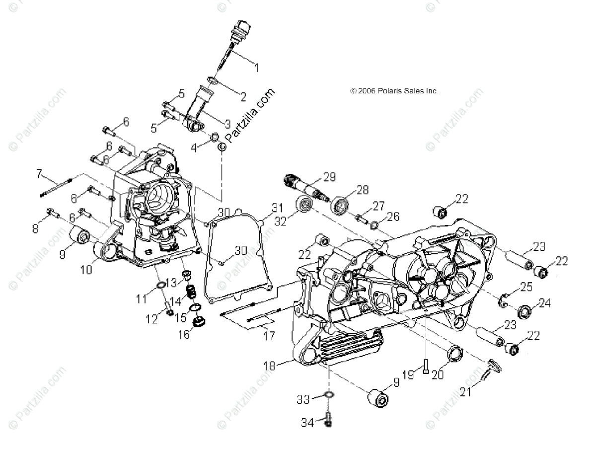 Polaris ATV 2009 OEM Parts Diagram for Engine, Crankcase