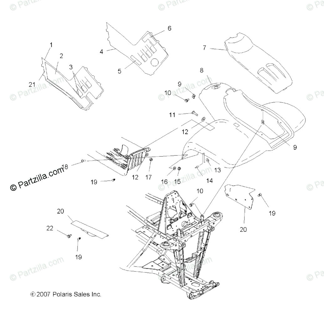 Polaris ATV 2009 OEM Parts Diagram for Body, Front Cab