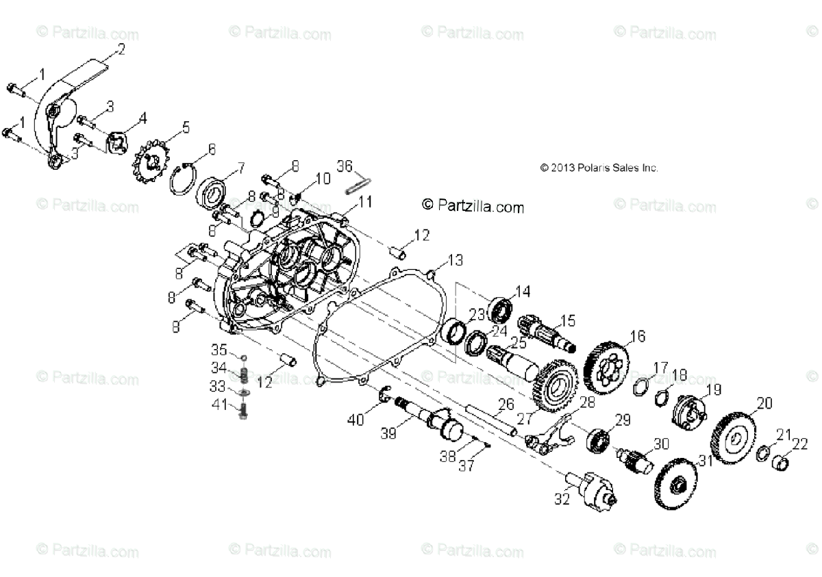 Polaris ATV 2014 OEM Parts Diagram for Drive Train