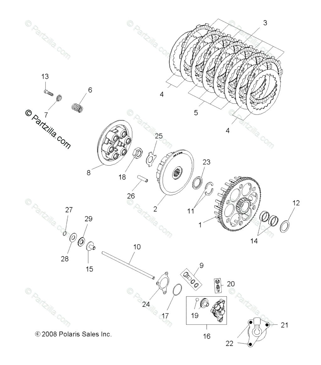 Polaris ATV 2009 OEM Parts Diagram for Engine, Clutch
