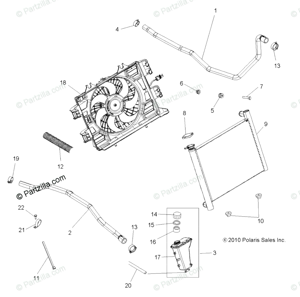 Polaris ATV 2011 OEM Parts Diagram for Engine, Cooling