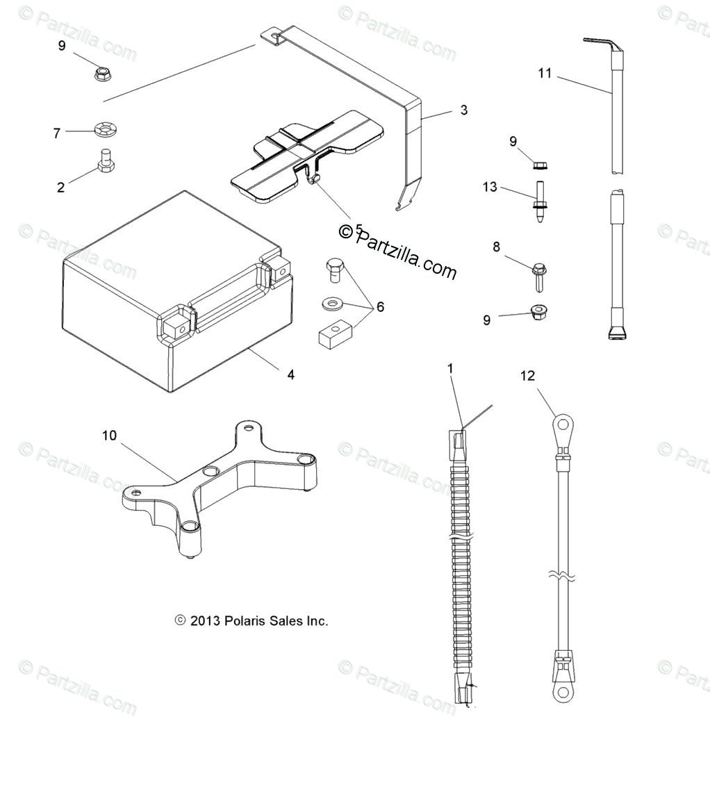 Polaris ATV 2014 OEM Parts Diagram for Electrical/Battery