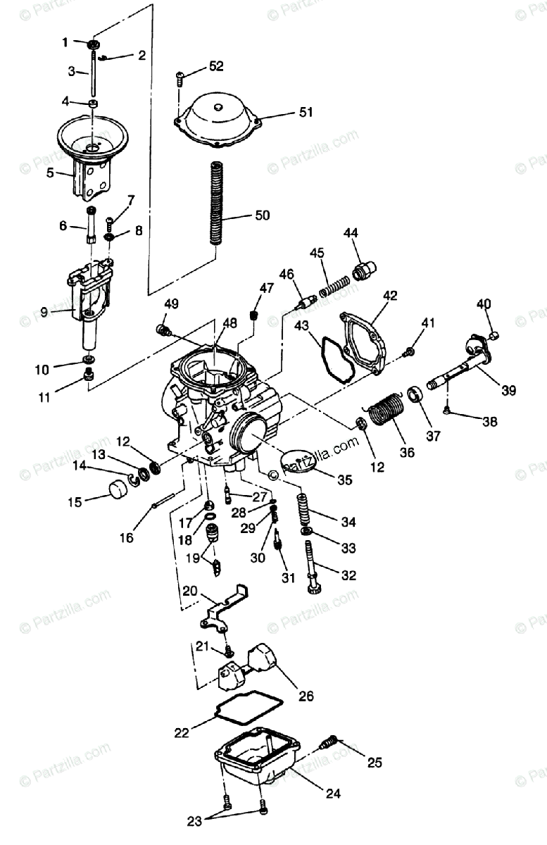 Polaris ATV 1996 OEM Parts Diagram for Carburetor