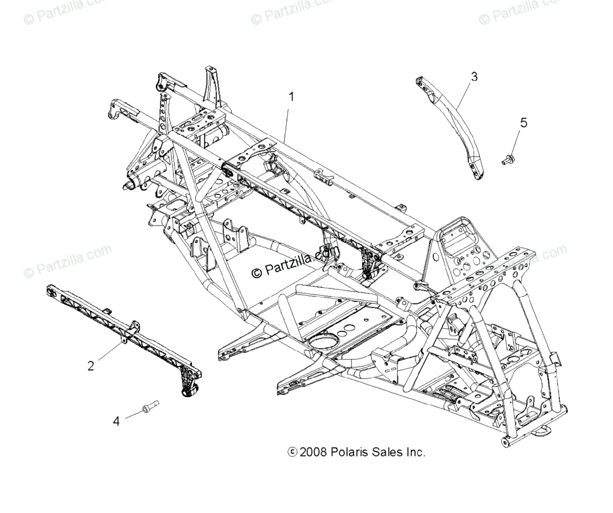 Polaris ATV 2009 OEM Parts Diagram for Chassis & Main