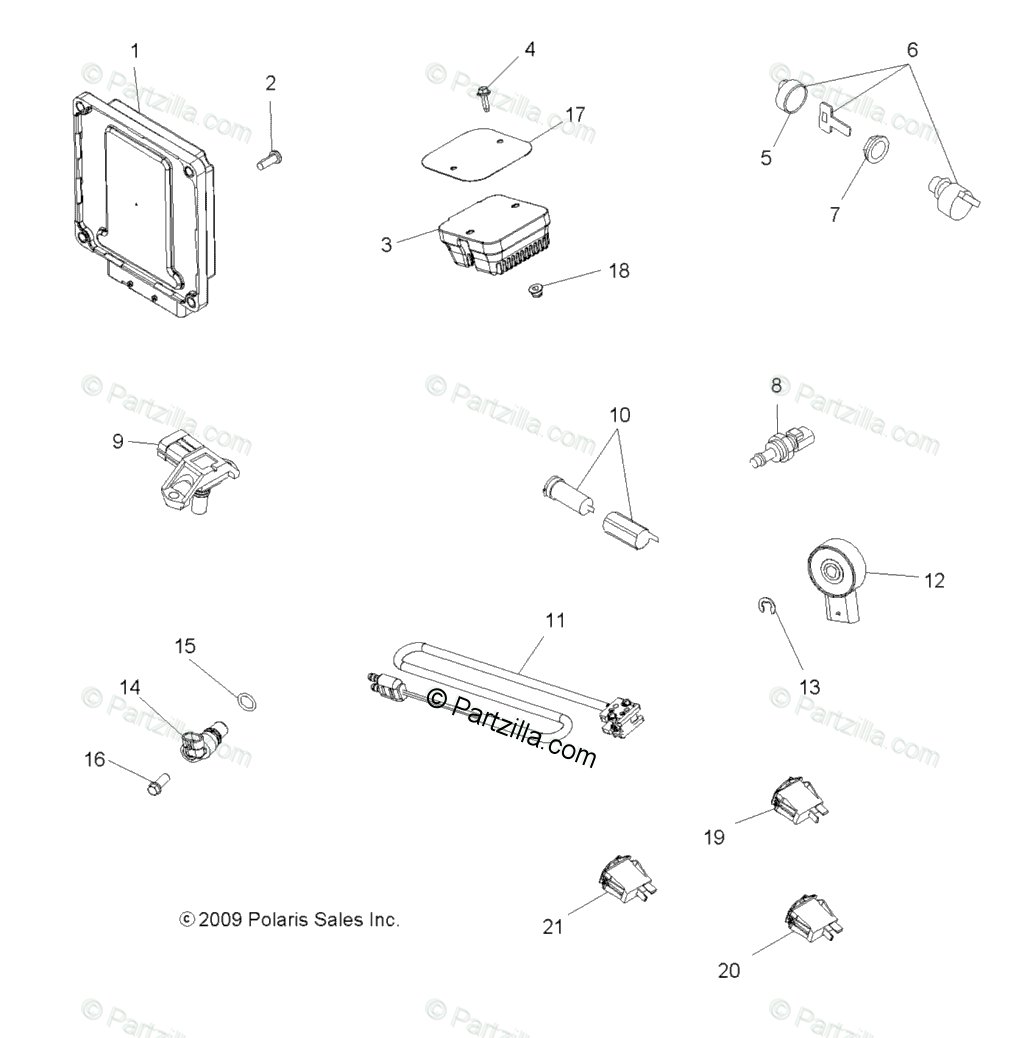 Polaris ATV 2010 OEM Parts Diagram for Electrical