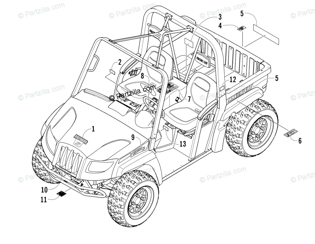 Arctic Cat Side by Side 2007 OEM Parts Diagram for Decals